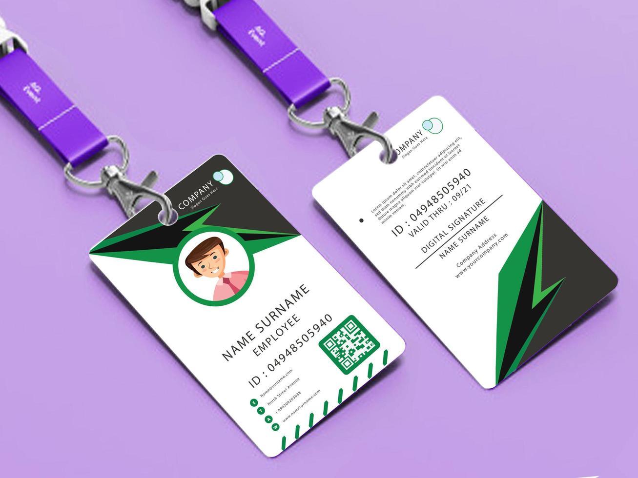 ID-kortmall med grön och grå design vektor
