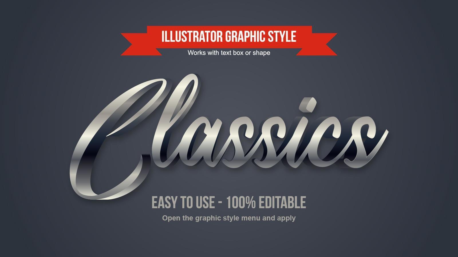 elegantes Kalligraphiedesign des Chromsilbers 3d vektor