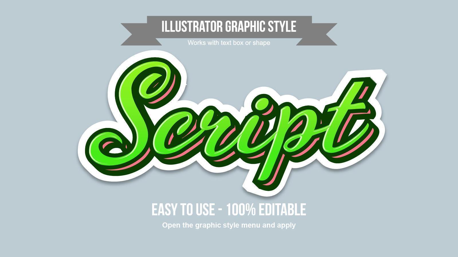 grön och orange skript klistermärke texteffekt vektor