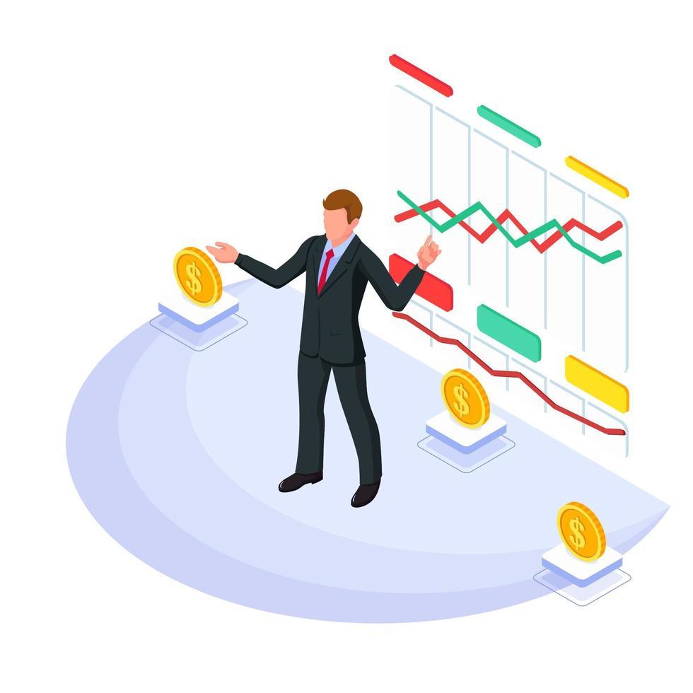 Geschäftsmann präsentiert ein wachsendes Diagramm vektor