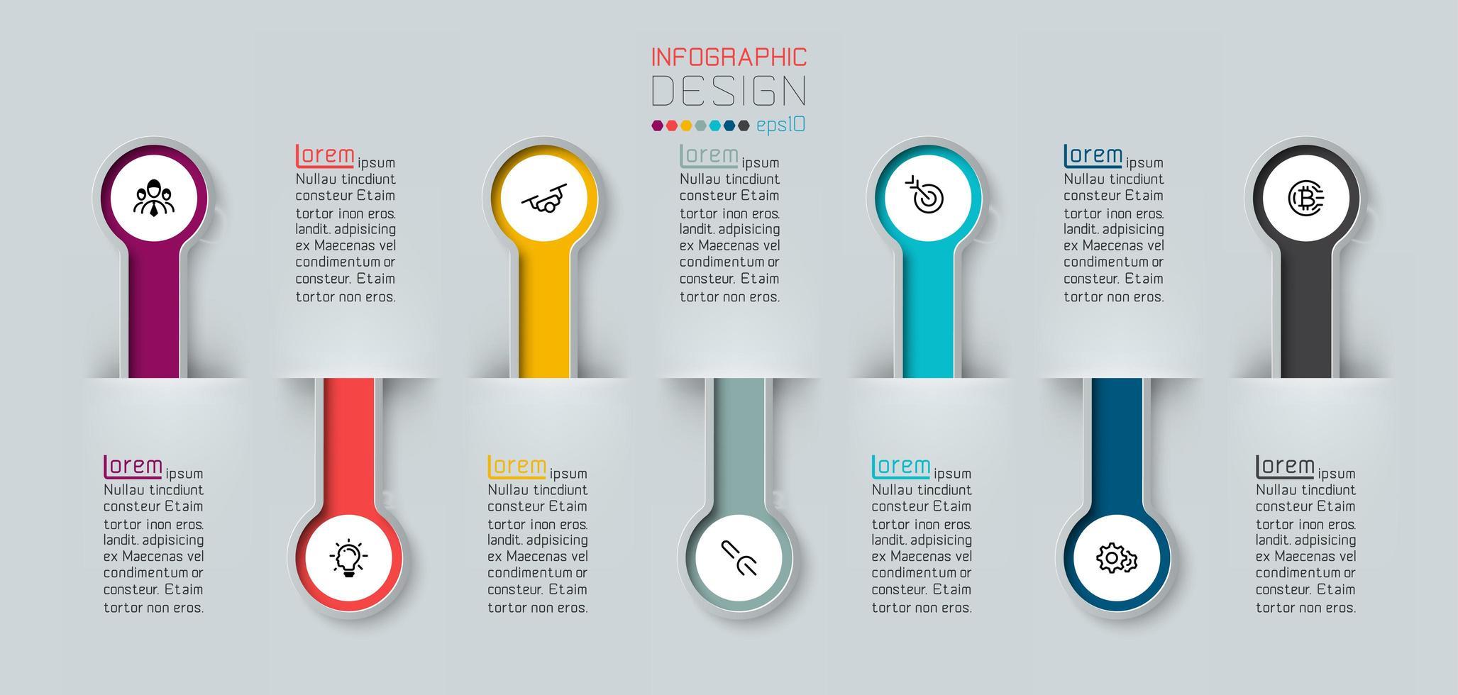 infographic med halv 3d långa cirkeletiketter vektor