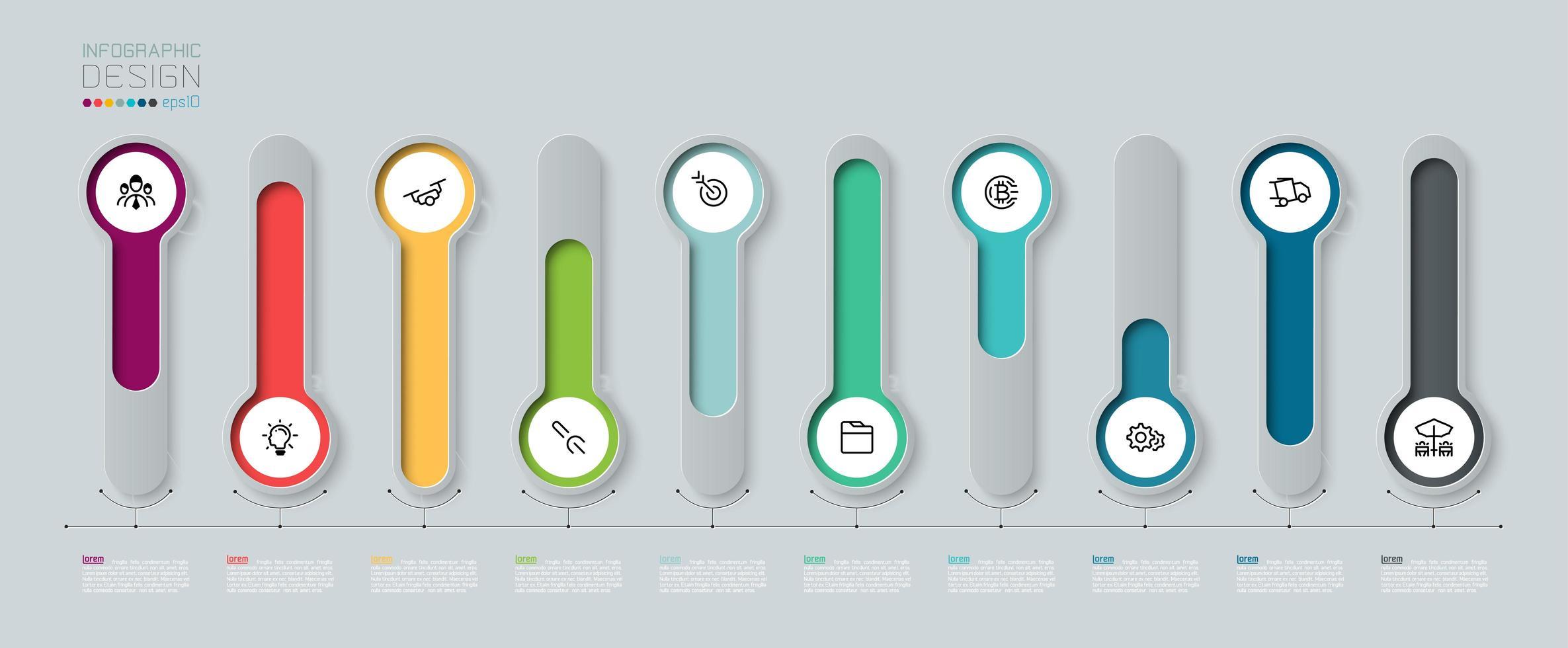 infographic med färgglad etikett med långa cirklar 3d vektor