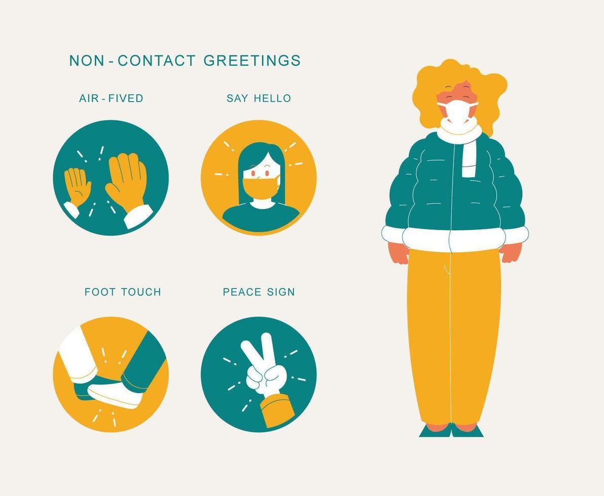 icke-kontakt hälsningar infographic vektor