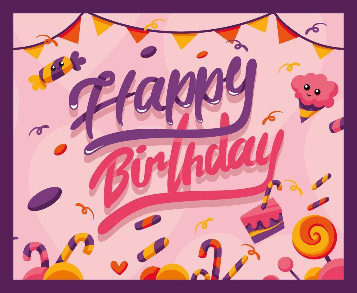 Alles Gute zum Geburtstag Banner, mit Süßigkeiten vektor