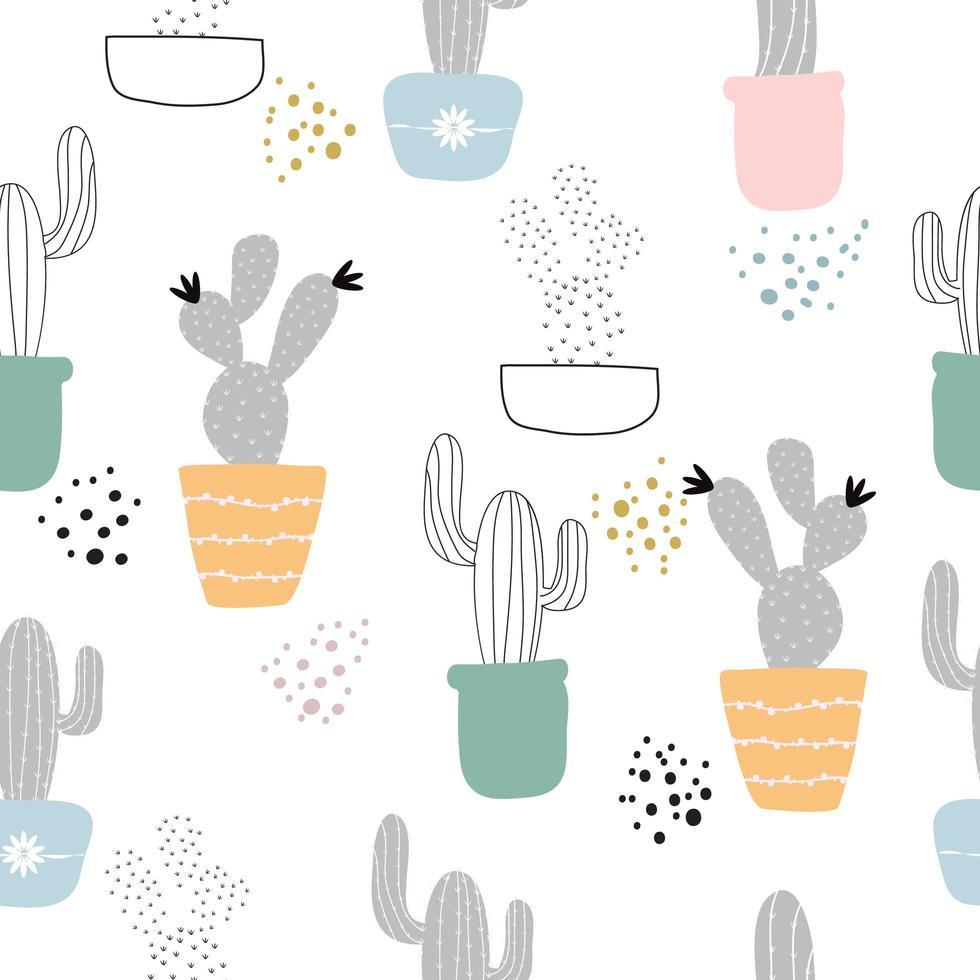 söt handritad kaktus sömlösa mönster vektor