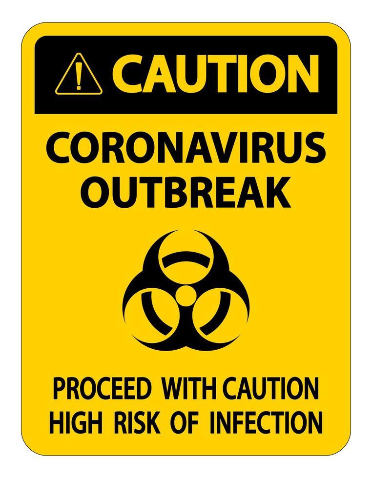 Vorsicht Coronavirus Ausbruch Zeichen vektor