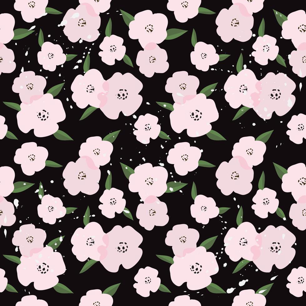 söta rosa blommor sömlösa mönster vektor