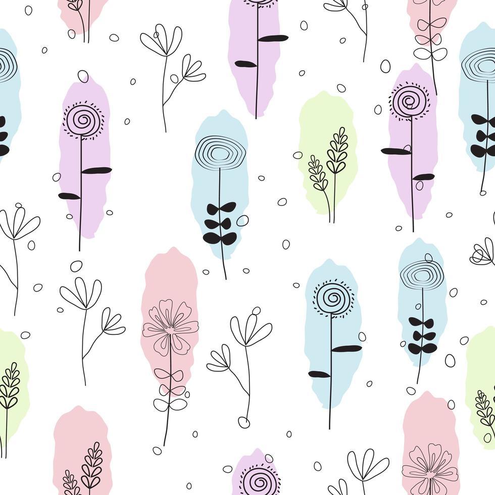 söta handritade pastell blommönster sömlösa mönster vektor