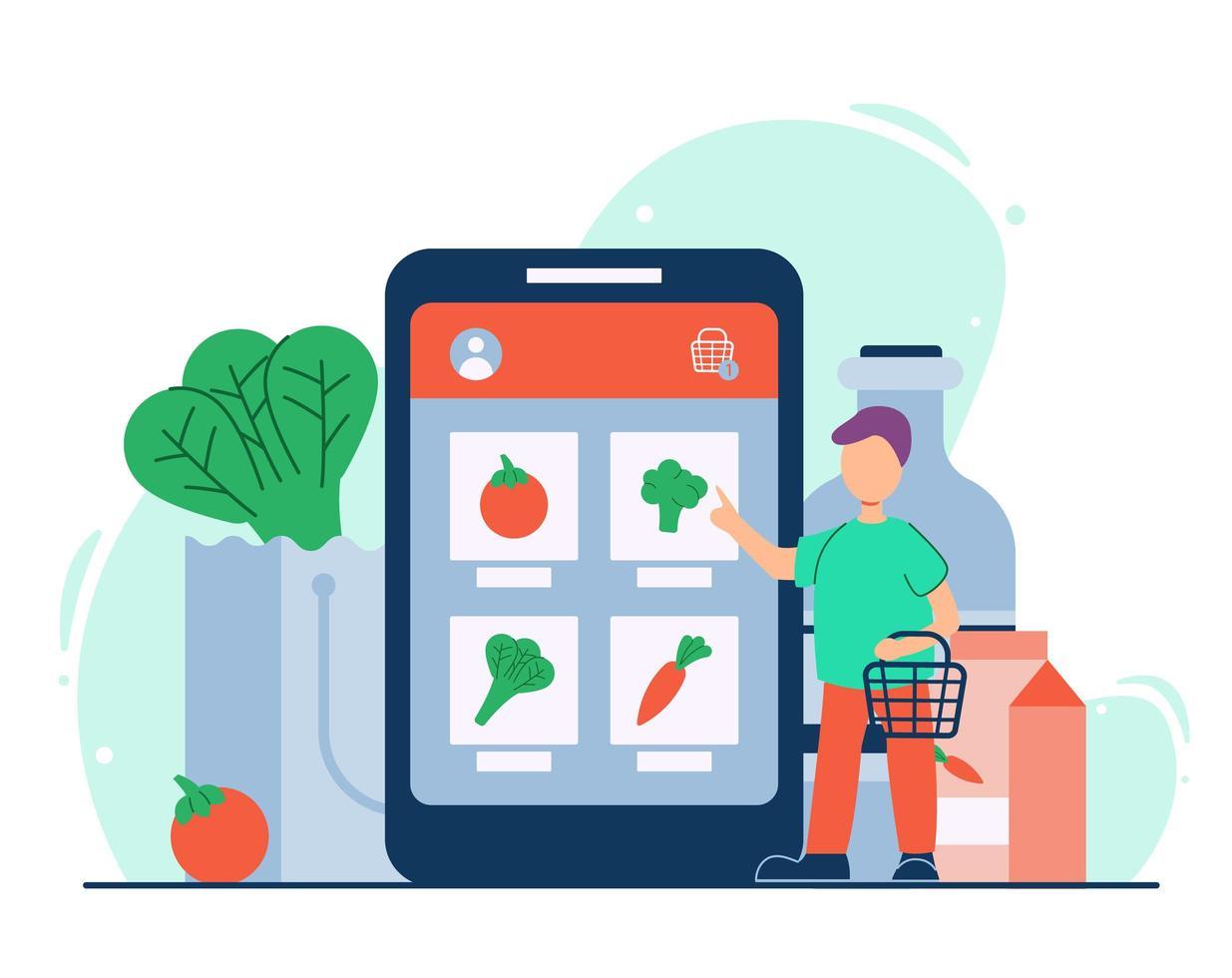 Online-Lebensmitteleinkaufskonzept vektor