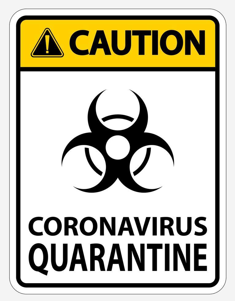 gult, svart '' försiktighet koronavirus karantän '' tecken vektor