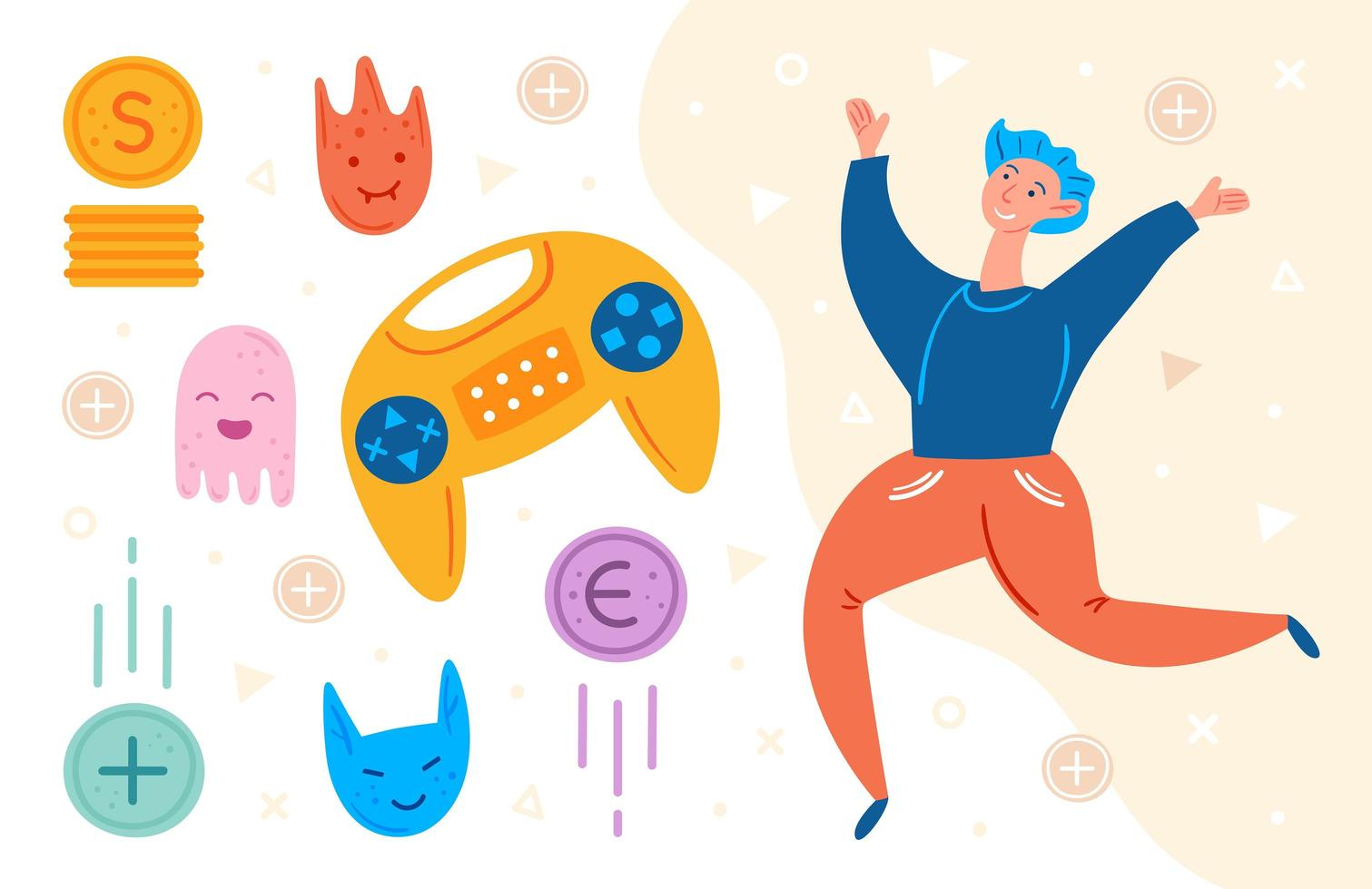 männlicher Videospieler, der mit Spielgegenständen springt vektor