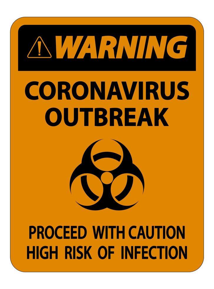 orange Warnung Coronavirus Ausbruch Zeichen vektor