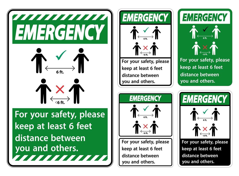 Satz grüner Notfall halten 6 Fuß Abstand vektor