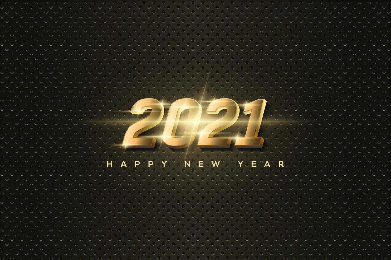 bakgrund 2021 med lysande 3d-guldnummer. vektor
