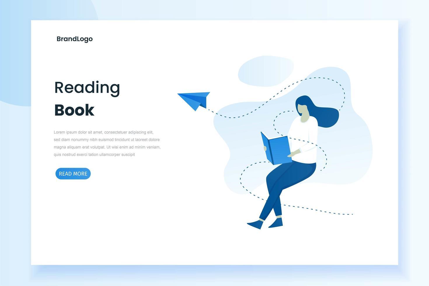 Landingpage einer Frau, die ein Buch liest vektor