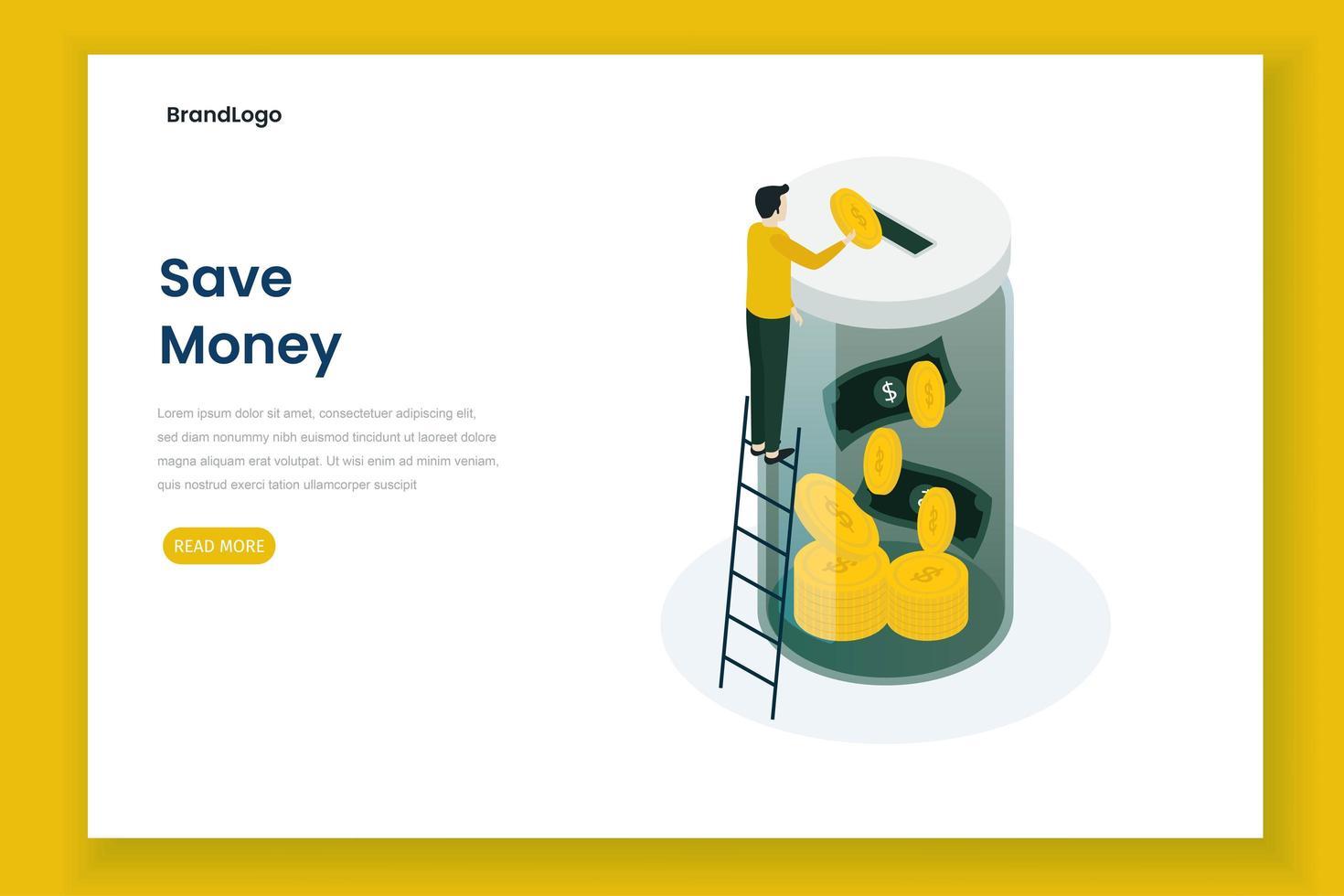 Geld sparen Zielseitenvorlage vektor