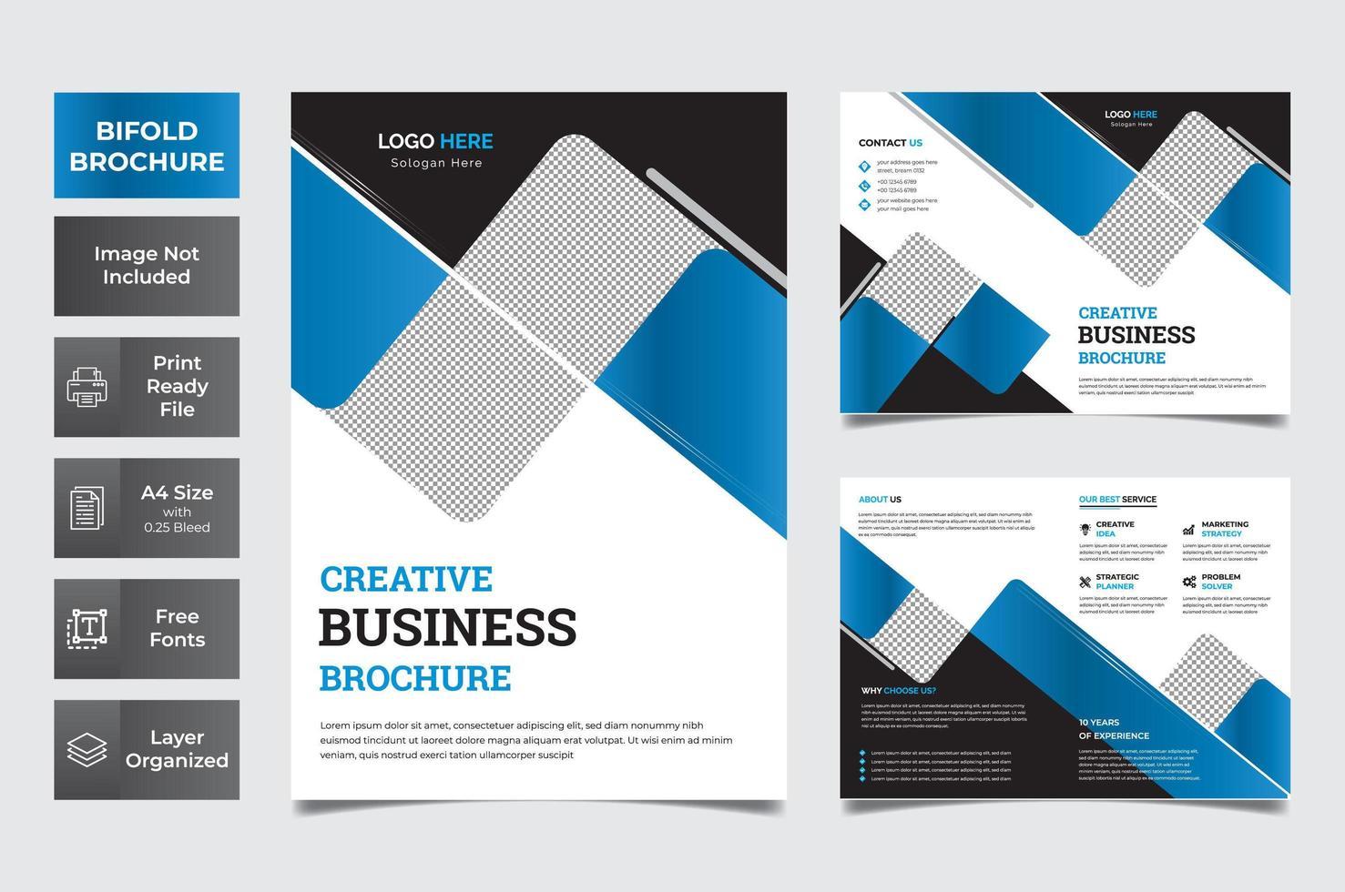 blå, vit och svart företags bifold broschyr vektor