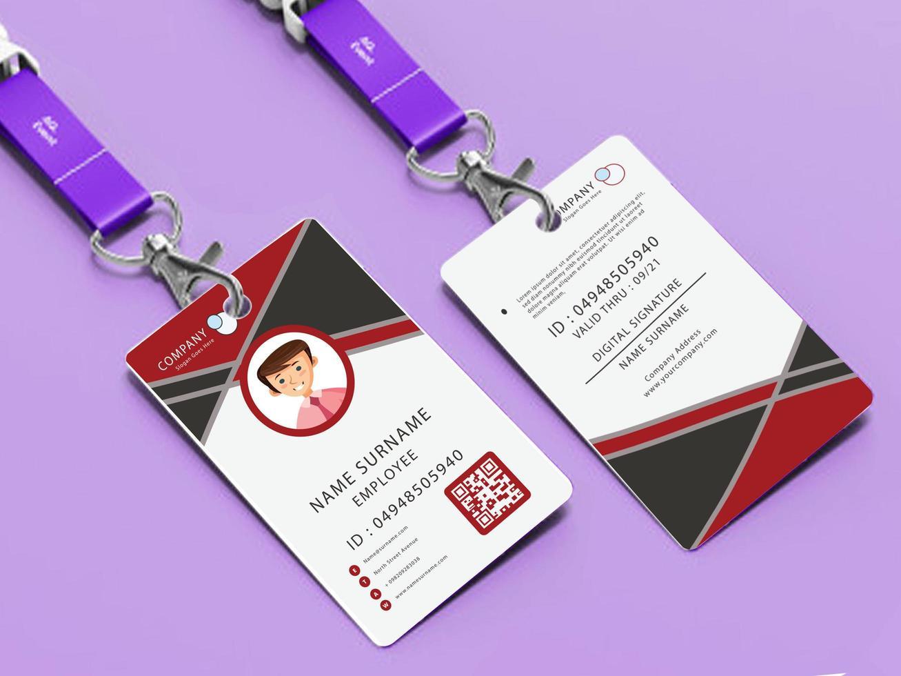 identitetskortsmall med röd och grå design vektor