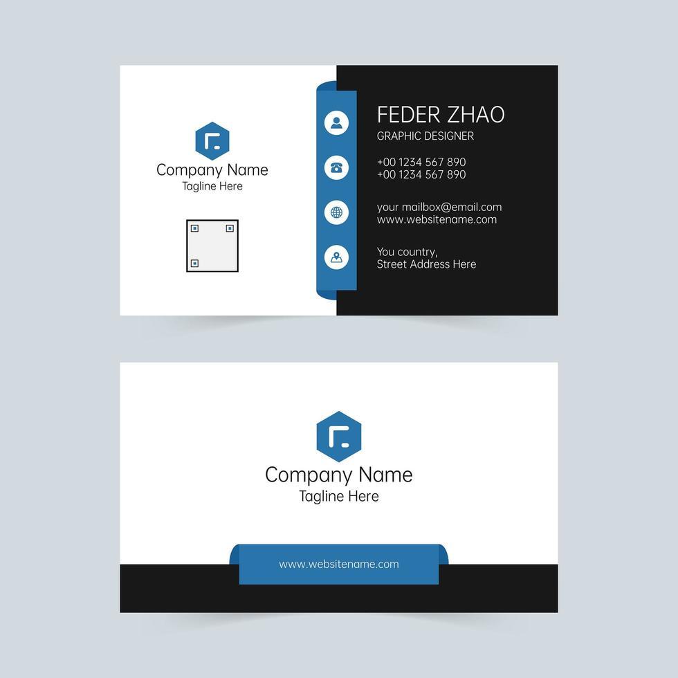 weiße, blaue und schwarze universelle Visitenkarte vektor