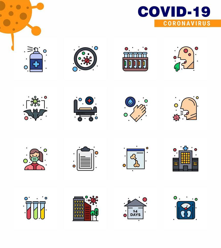 buntes Coronavirus-Symbolpaket einschließlich Krankenhaus vektor