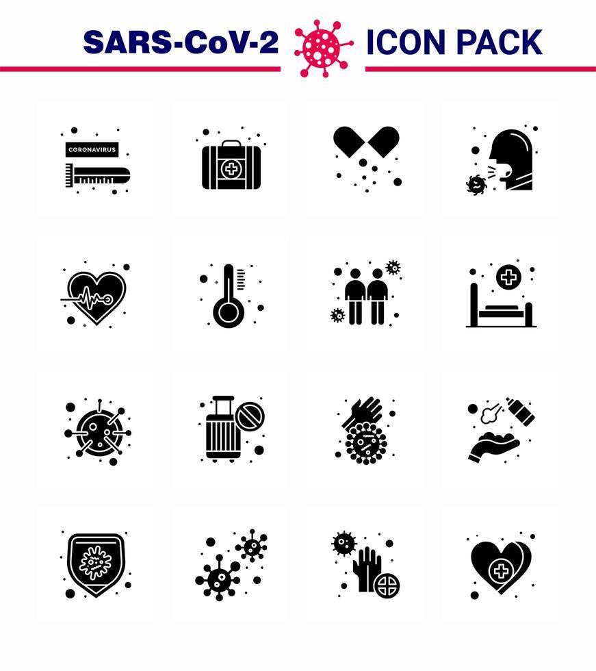 Solid Black Coronavirus Icon Pack einschließlich Viruszellen vektor