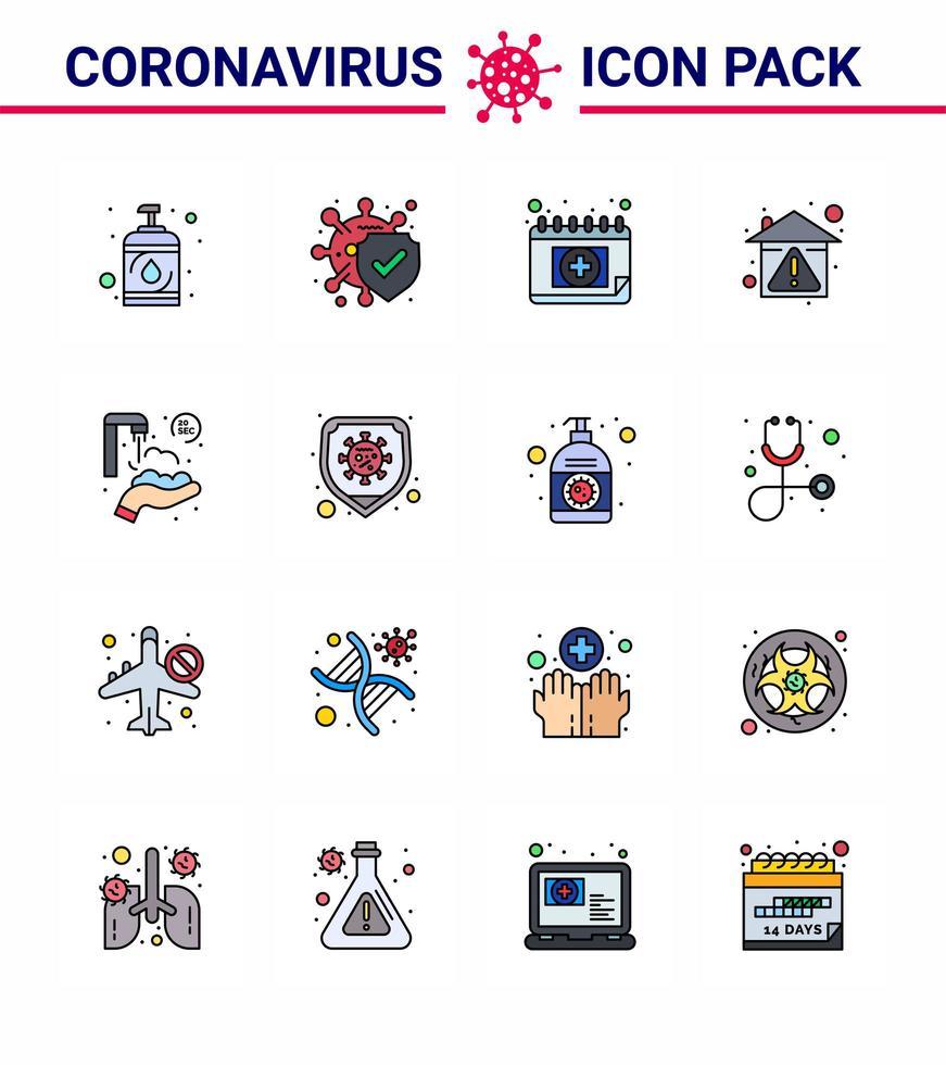 buntes Coronavirus-Symbolpaket einschließlich Kalender vektor