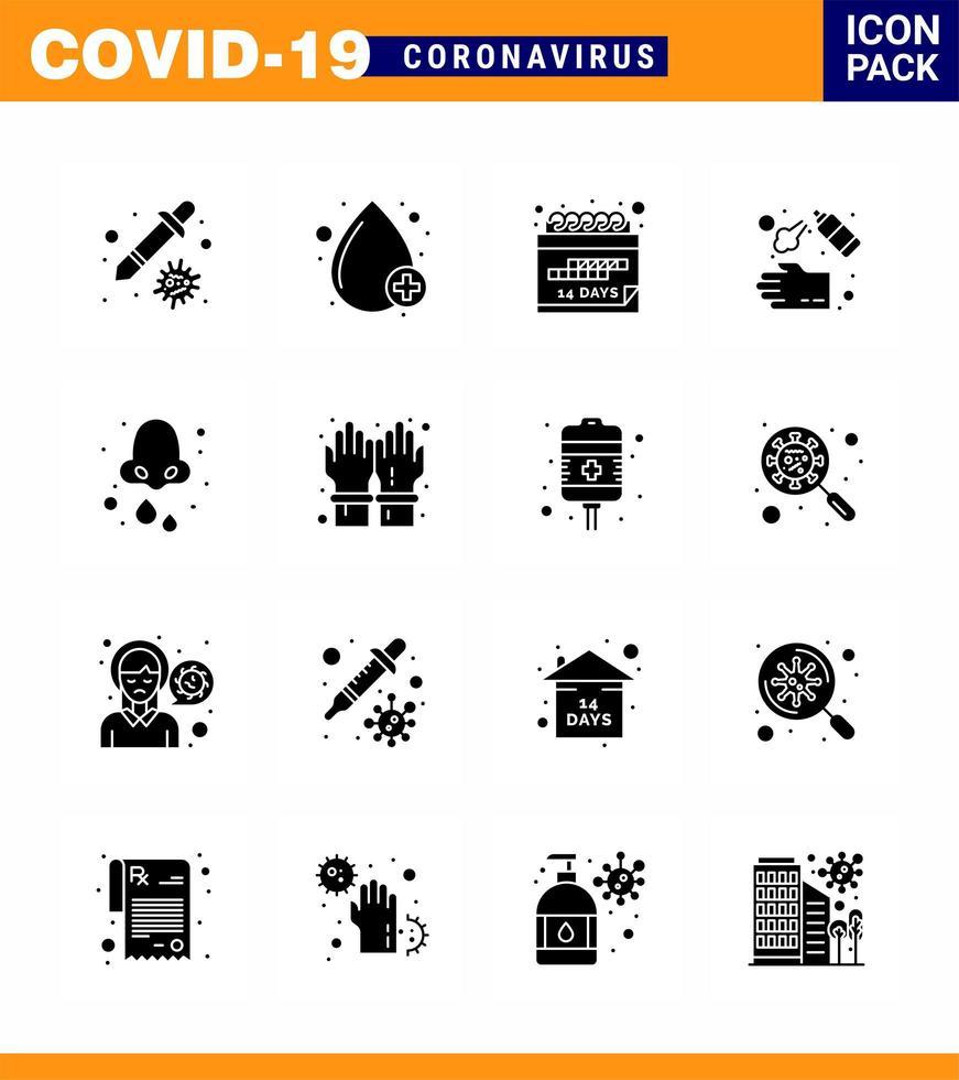 Solid Black Coronavirus 16 Icon Pack vektor