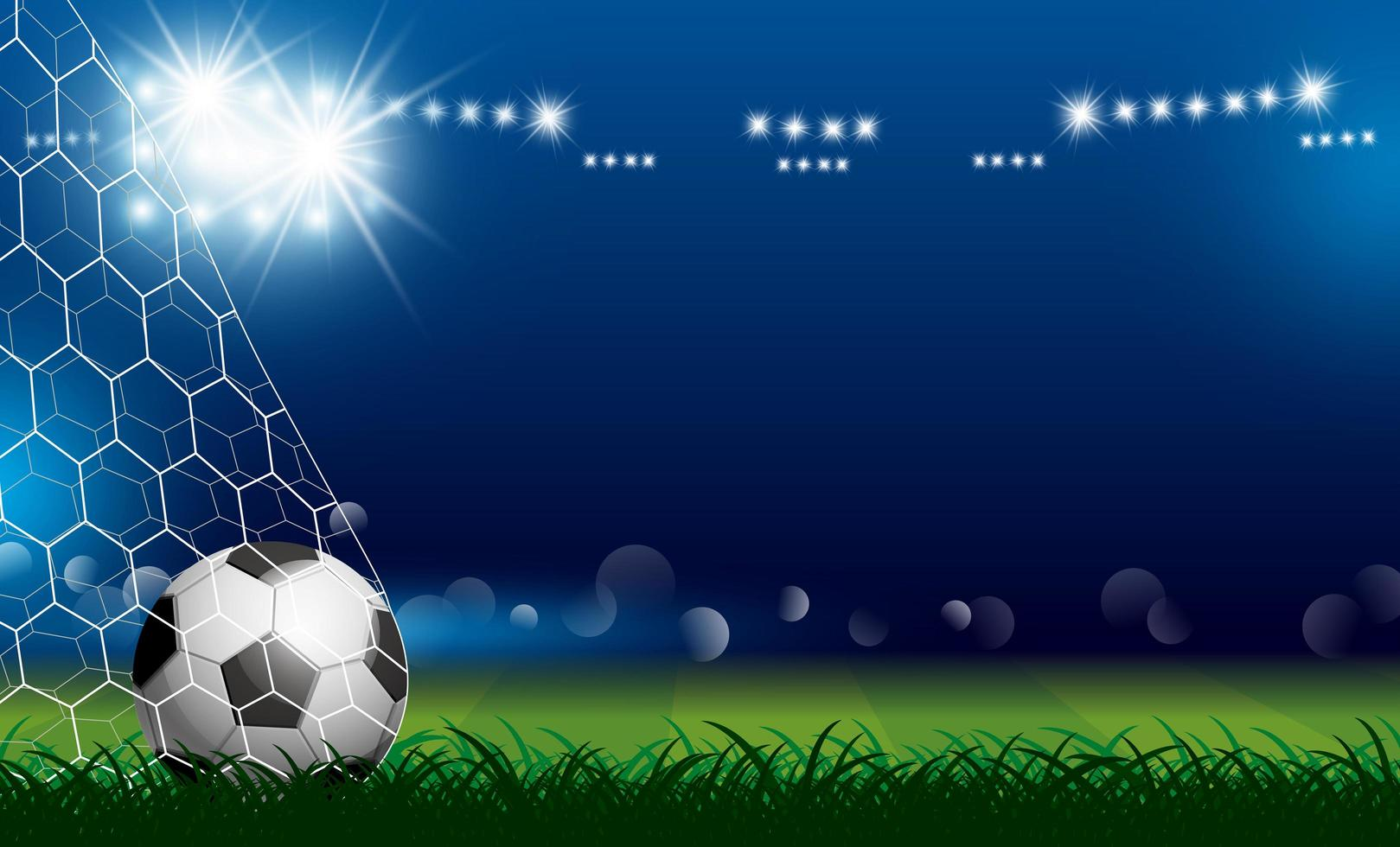 fotboll i mål på gräset vektor