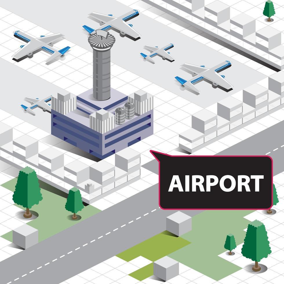 isometrisches Flughafendesign vektor