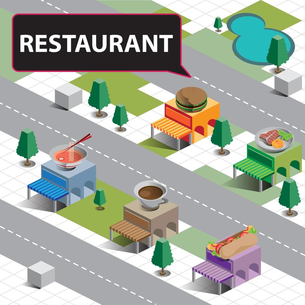 isometrisches Restaurant im Stadtplan vektor
