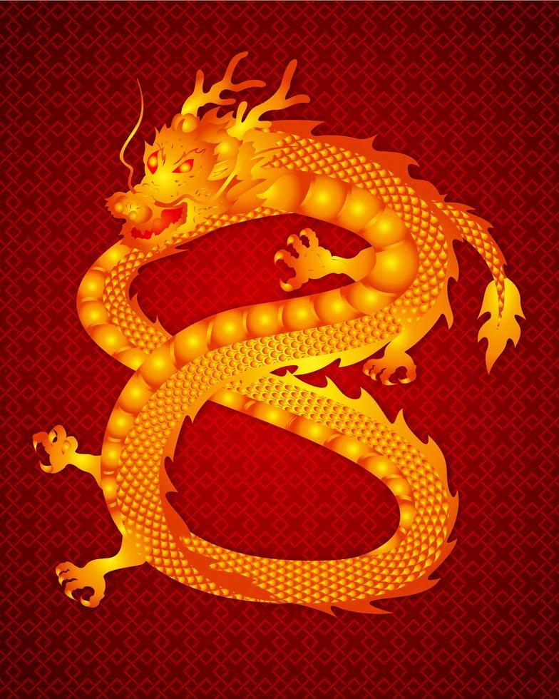 kinesisk drake i nummer 8 på rött mönster vektor