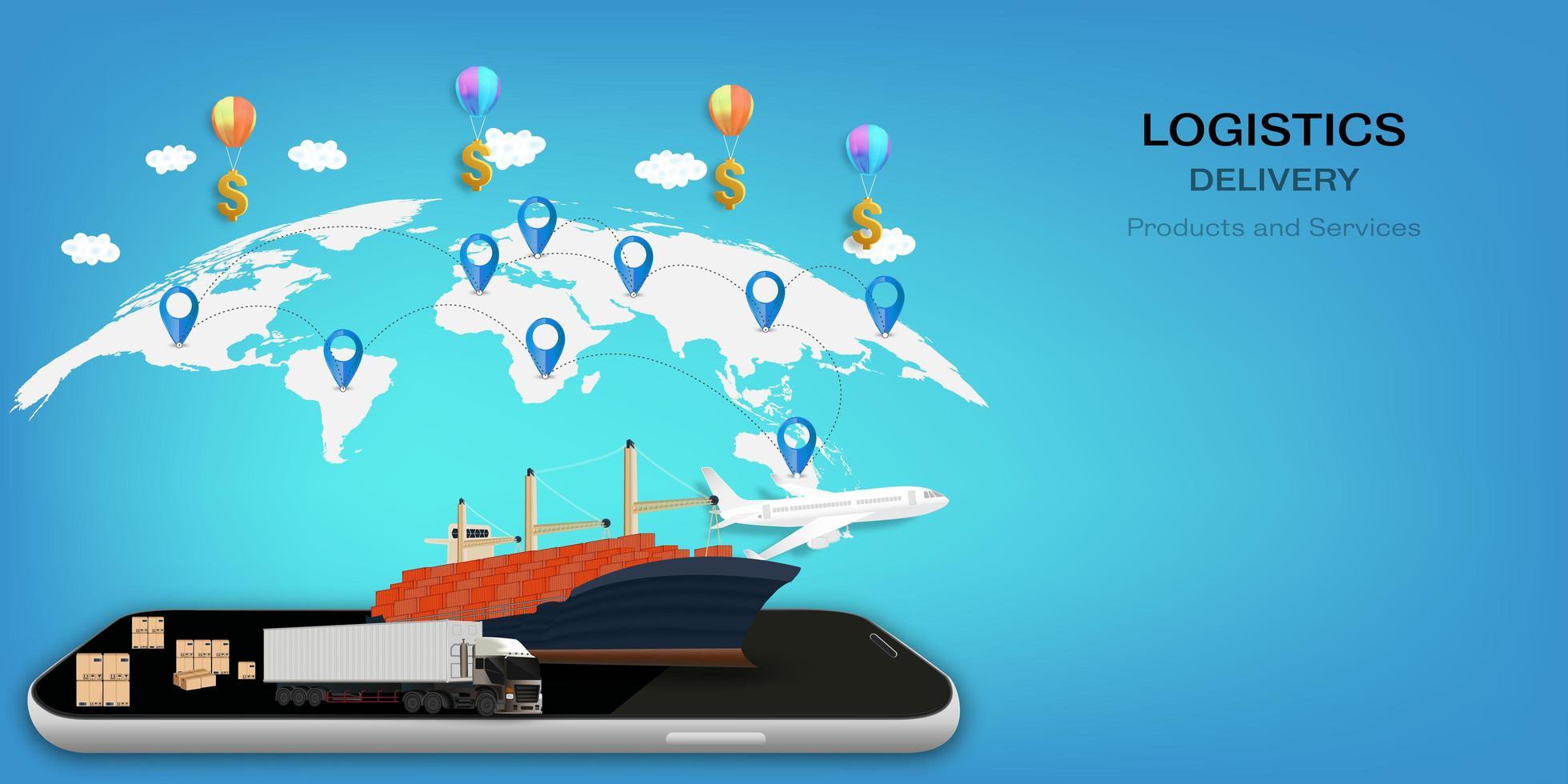 logistik på mobil och leveranskoncept vektor
