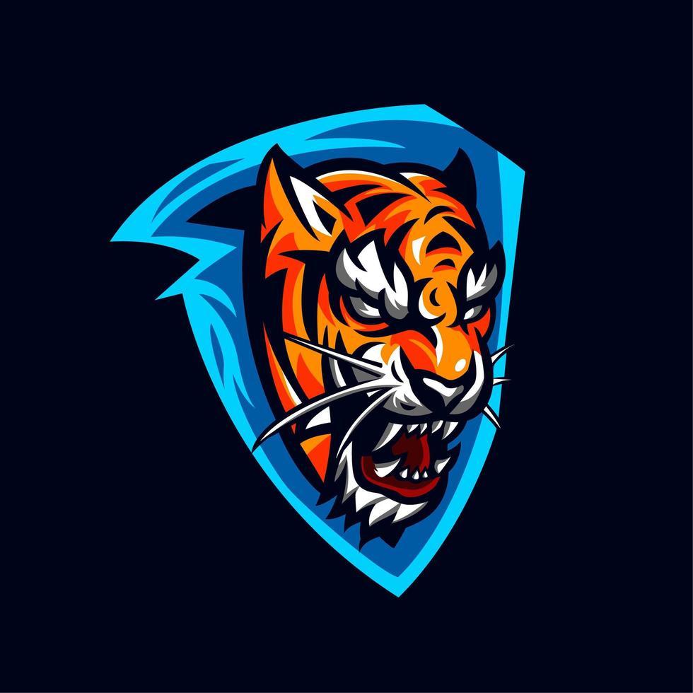 Tigerkopf auf blauem Schilddesign vektor