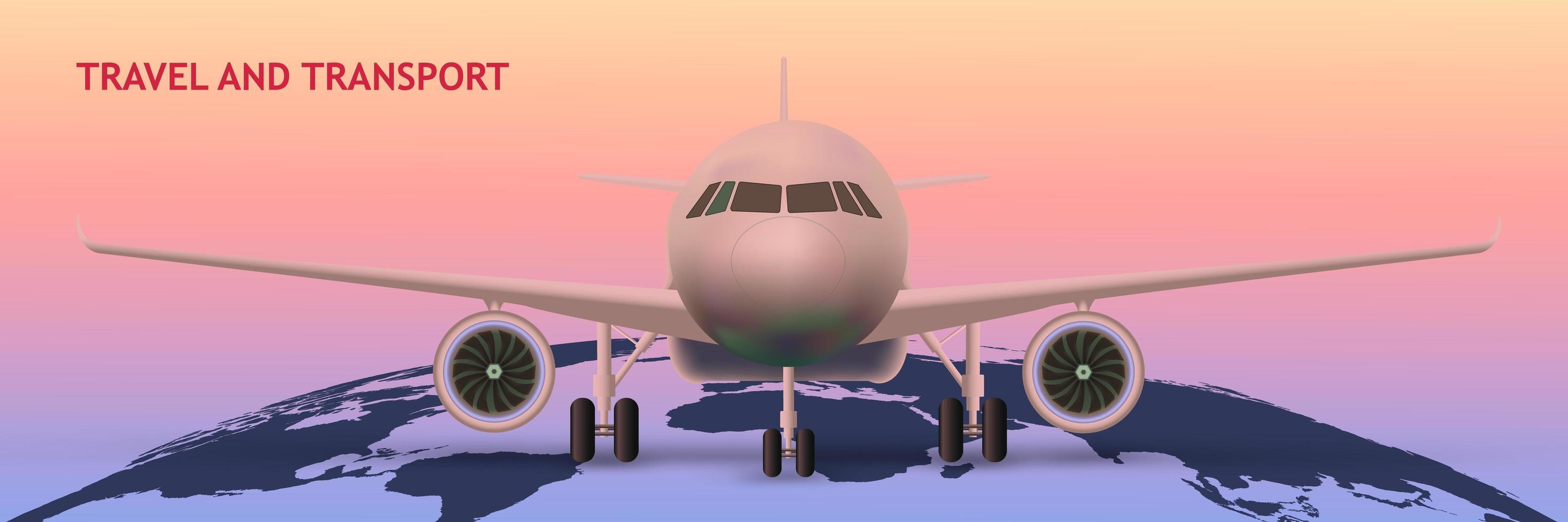 flygplan på världskartan som transportkoncept vektor