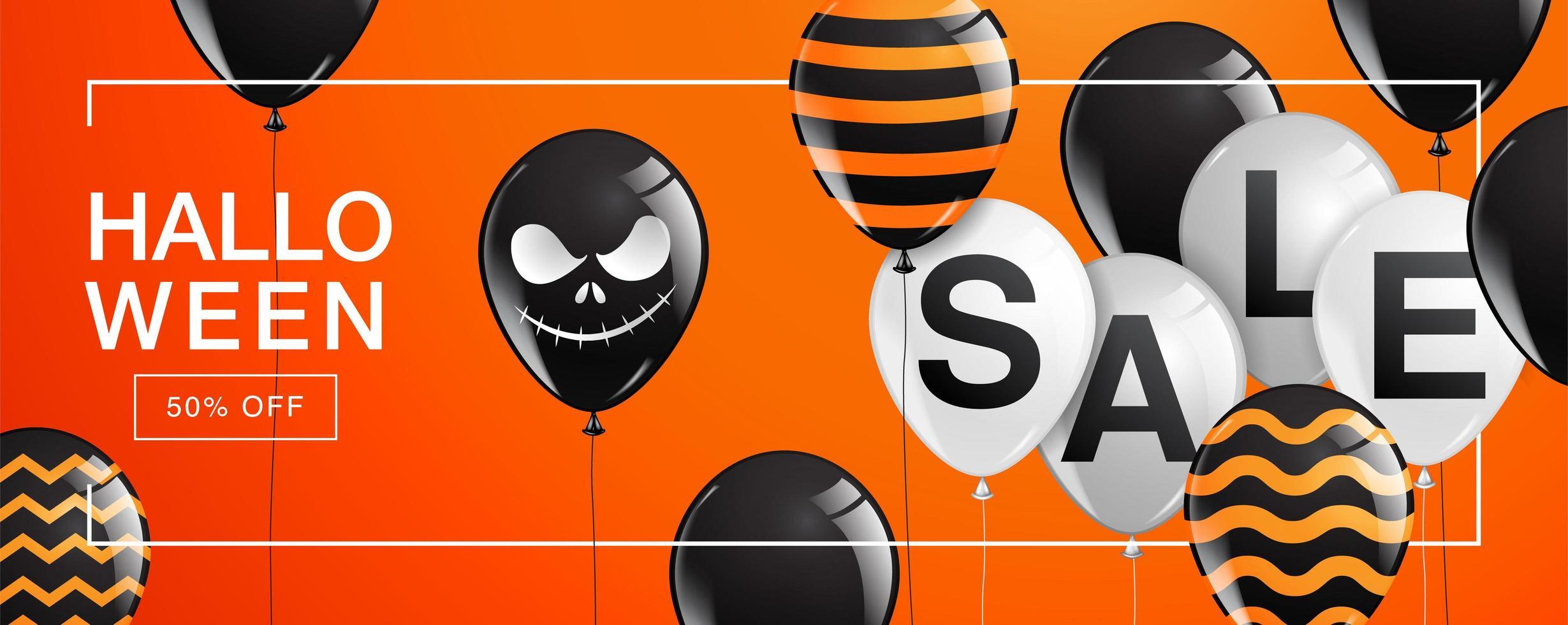 halloween försäljning banner med ballonger på orange vektor