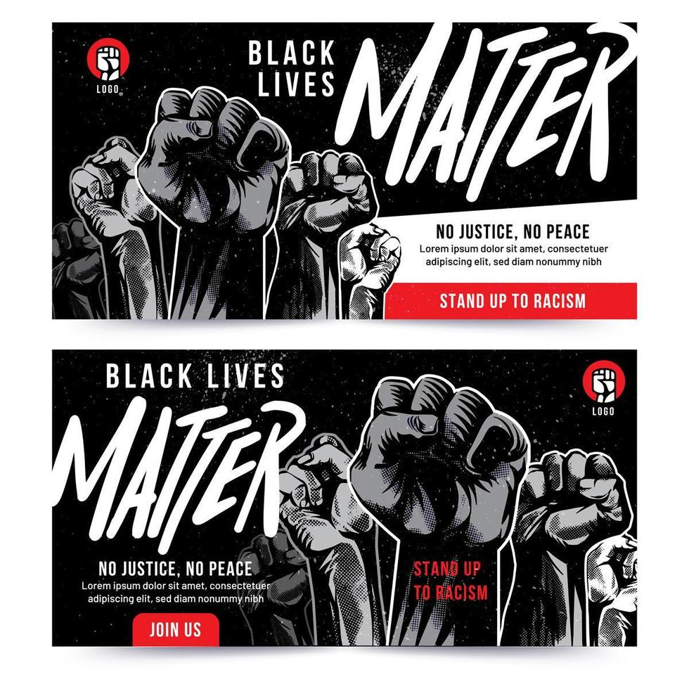 svart liv materia lyft näve banner vektor