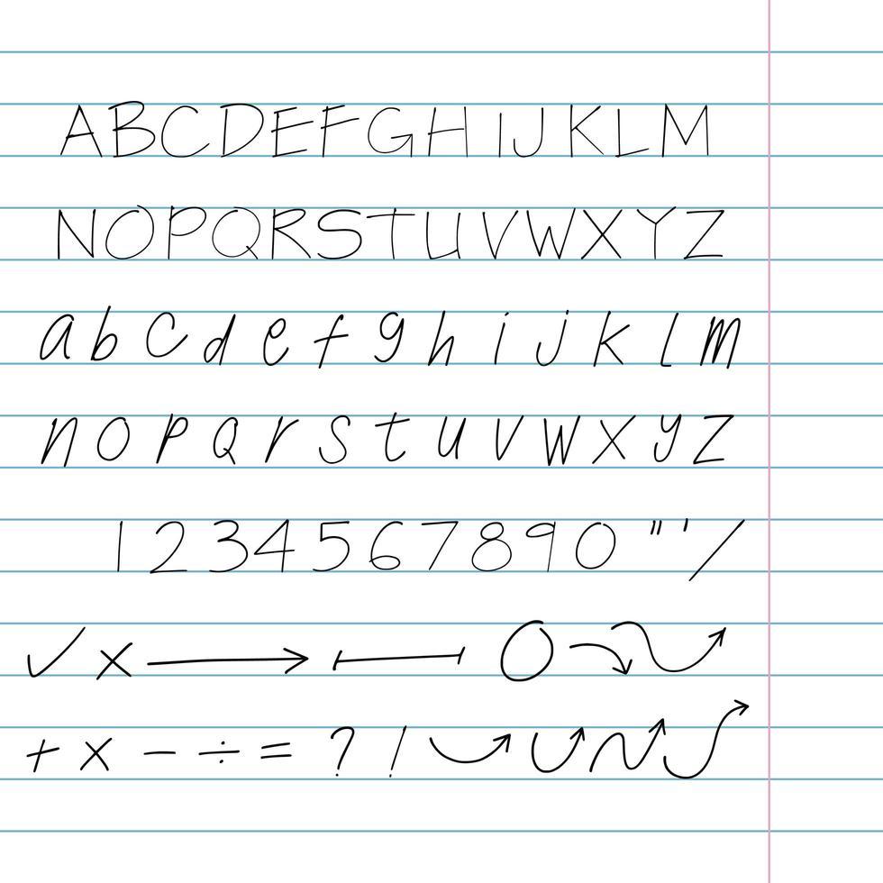 handritad arkitekt bokstäver set vektor