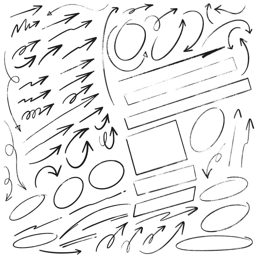 handritade pilar, ramar och linjer vektor