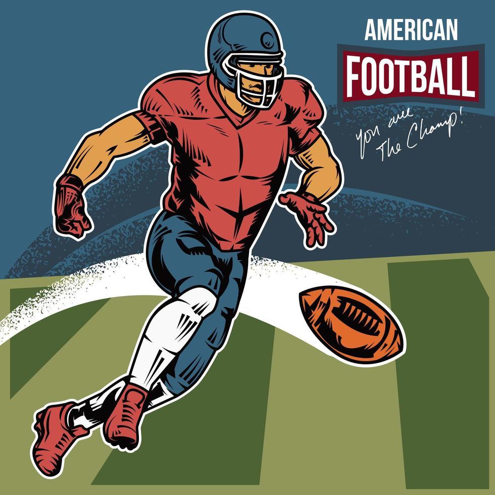 retro amerikansk fotbollsspelare skjuter en boll vektor