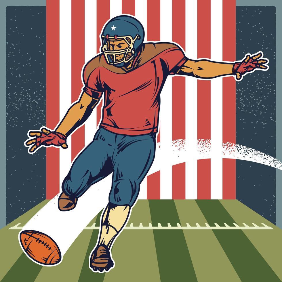 retro amerikansk fotbollsspelare som sparkar bollen vektor