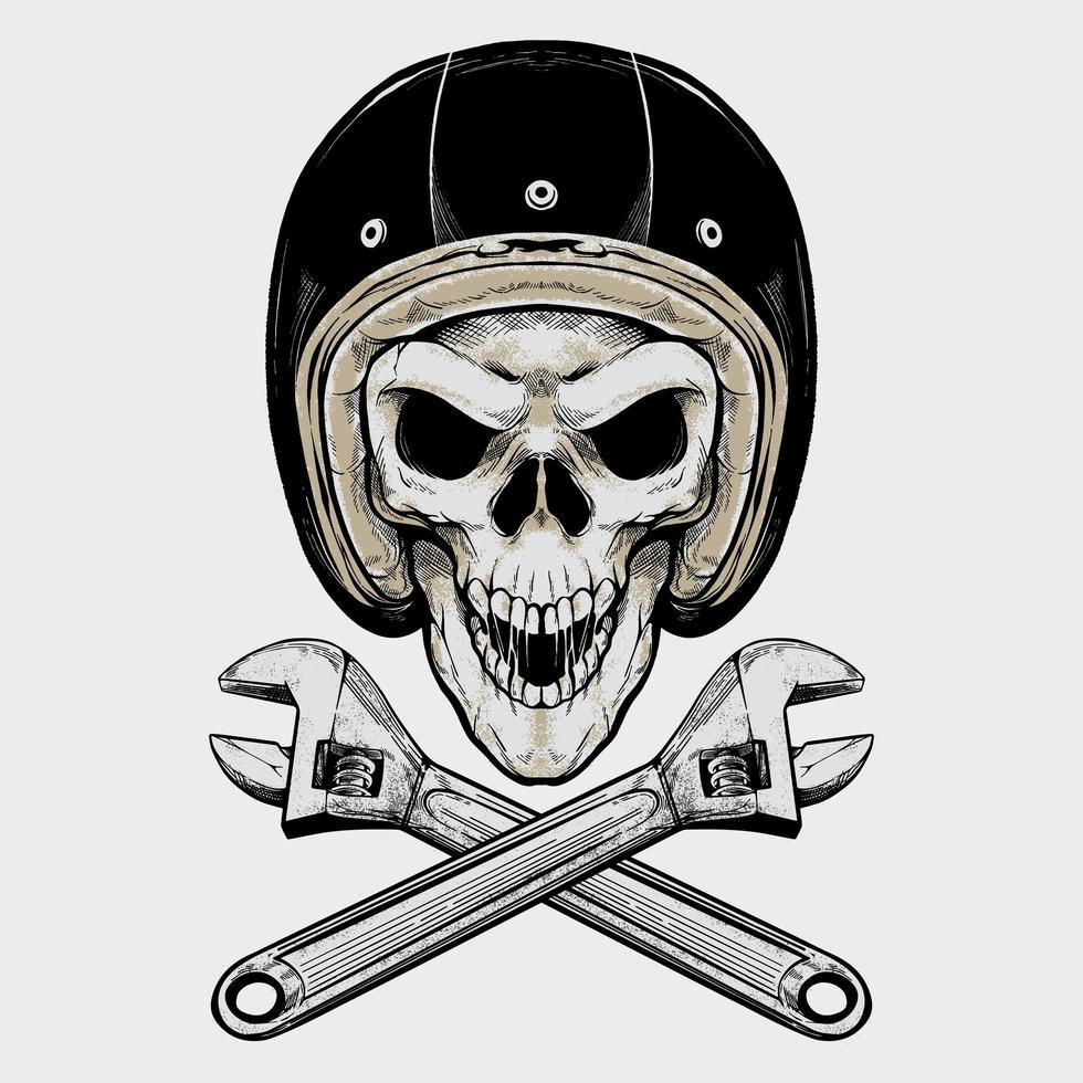 vintage biker skalle och skiftnycklar vektor