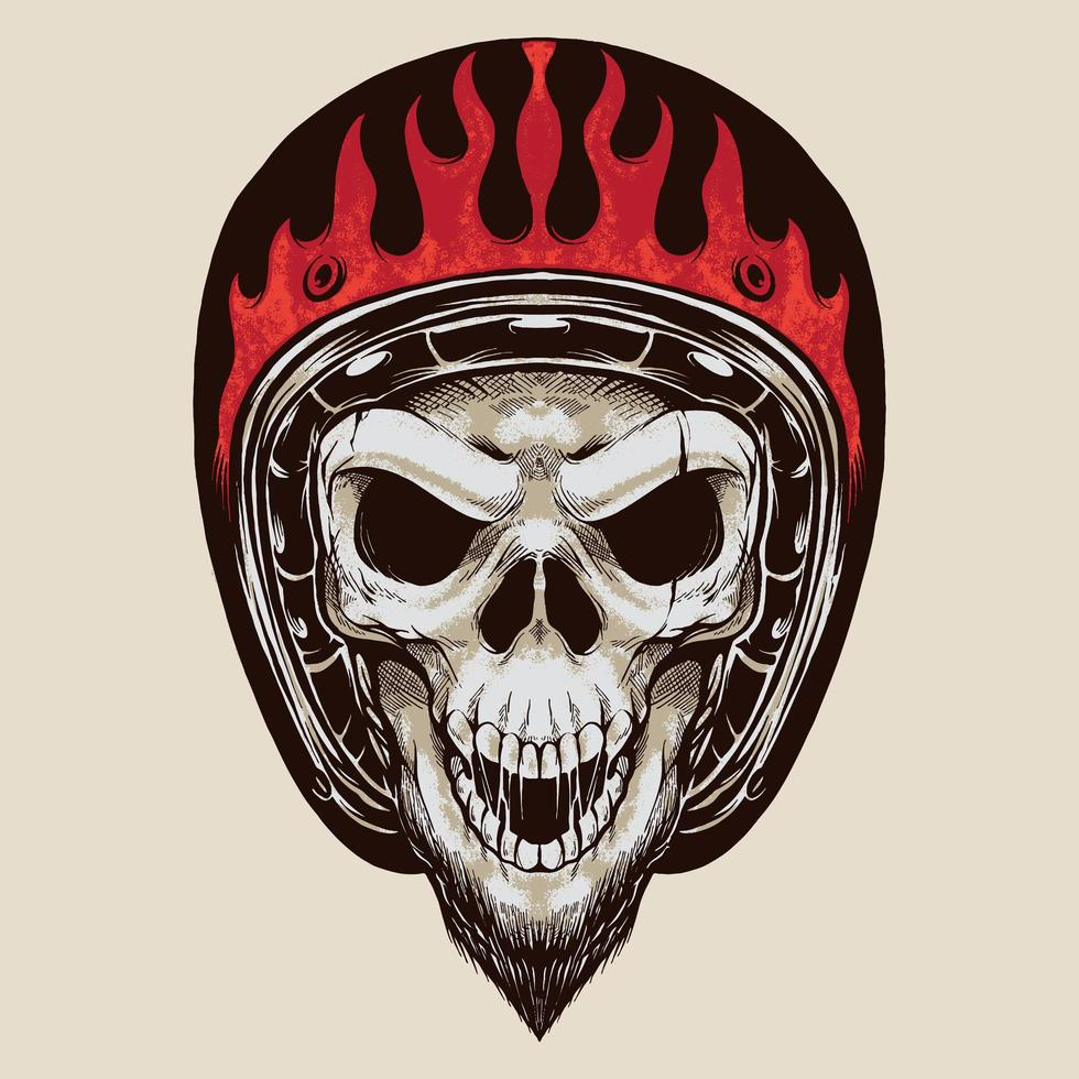 vintage biker skalle med skägg vektor