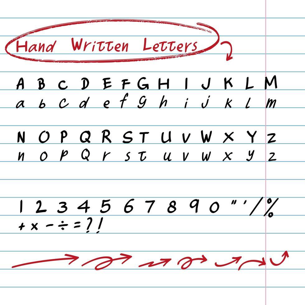 handritade skriftliga bokstäver och elementuppsättning vektor
