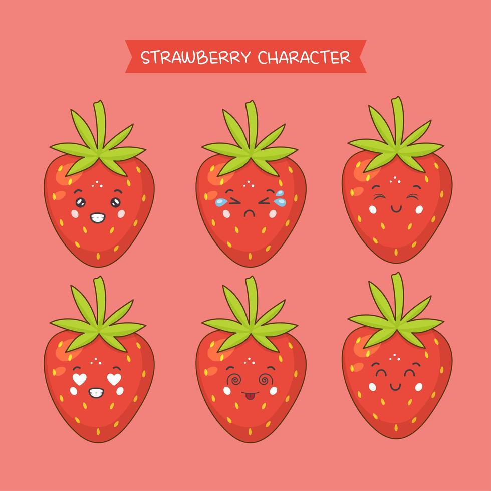 söta jordgubb karaktärer uppsättning vektor