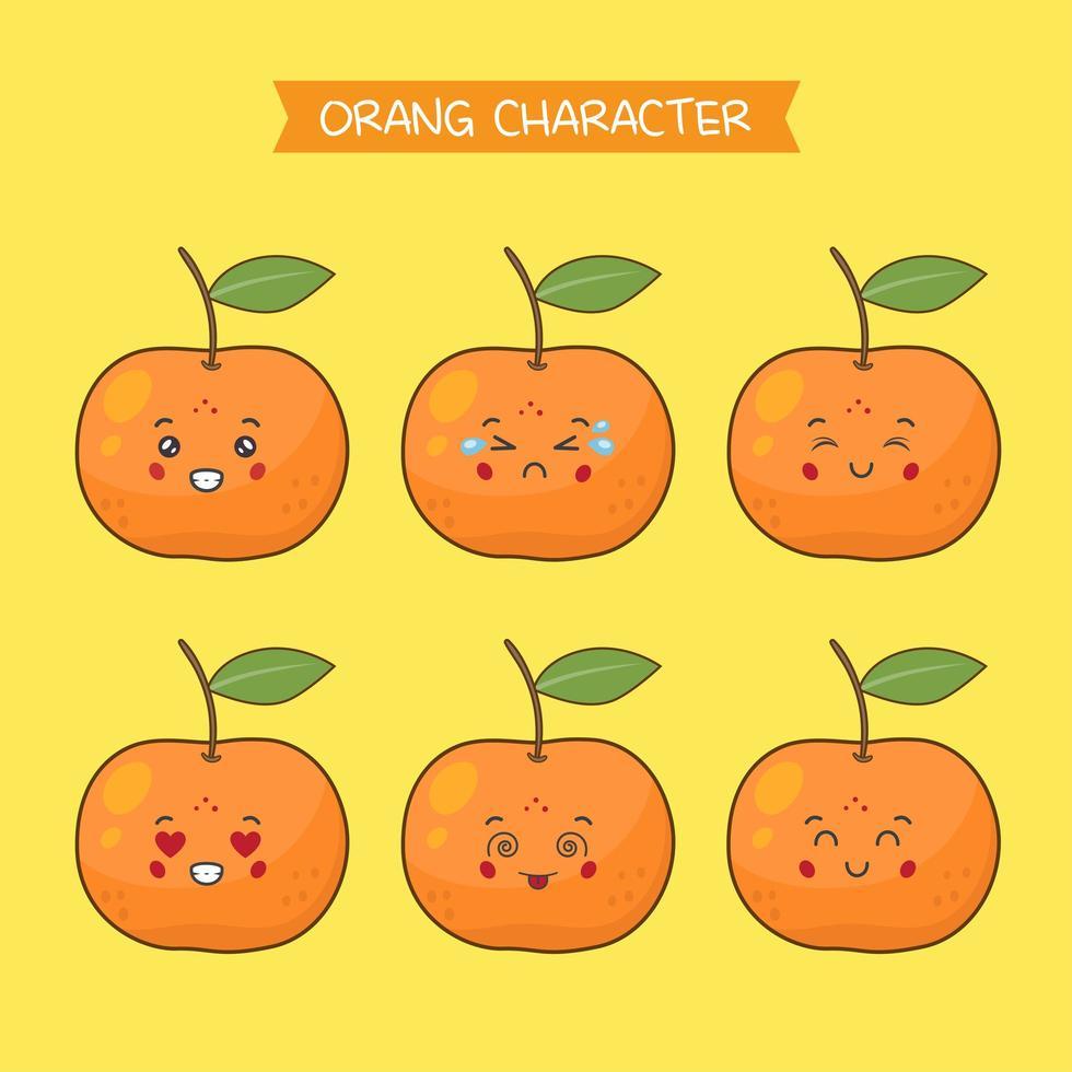 söta orange teckenuppsättning vektor