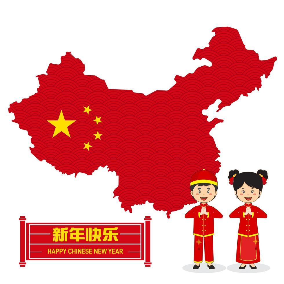 kinesisk nyårsdesign med karaktärer och karta vektor