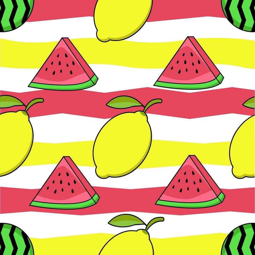 Wassermelonen- und Zitronendruck vektor