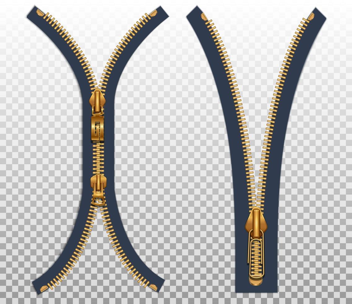 Zwei Reißverschlüsse für Kleidung vektor
