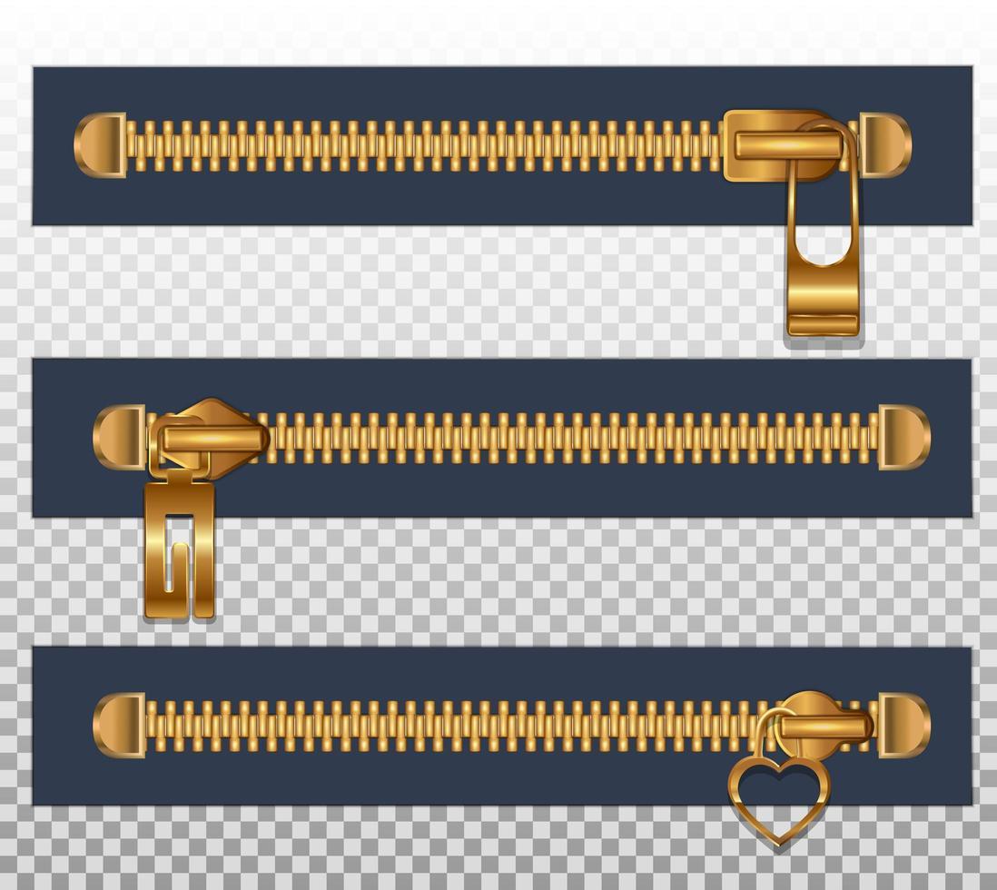 3 Reißverschlüsse für Kleidung vektor