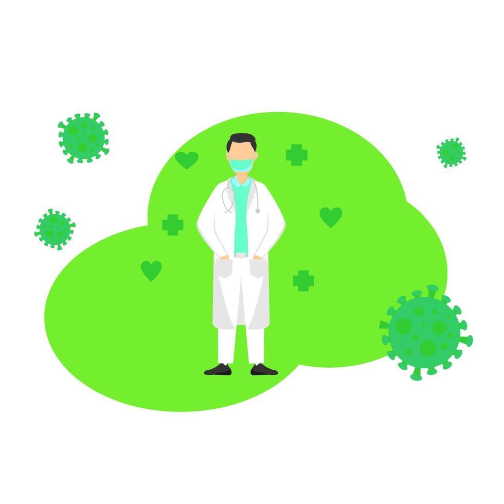 Arzt, der im grünen Virusentwurf steht vektor